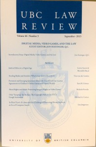 "Special Issue  of UBC Law Review on ""Digital Media, Video Games, And The Law"" is out.."
