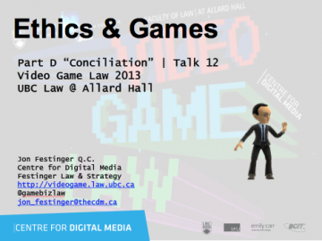 "Week 12 – 11/27/13: ""Ethics & Games"" & Brian Dartnell"