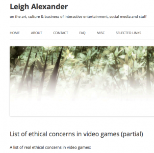 List of ethical concerns in video games (partial) | Leigh Alexander