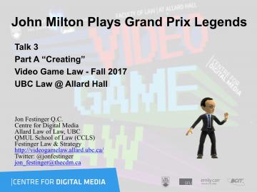 "Class 3 – 9/29/2017; ""John Milton Plays Grand Prix Legends"" & Ian Verchere"