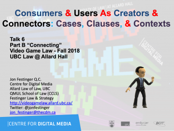 """Class 6 – 10/17/18; """"Consumers & Users As Creators & Connectors: Cases, Clauses, & Contexts"""" + """"The Implications of Copyright Law on Video-game Streamers"""""""