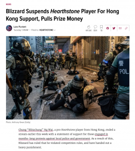 Blizzard Suspends Hearthstone Player For Hong Kong Support, Pulls Prize Money