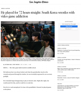 He played for 72 hours straight: South Korea wrestles with video game addiction