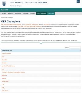 UBC Open Education Champions