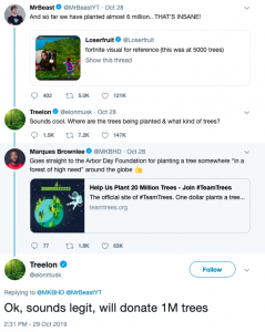 "Planting Trees with Minecraft, Fortnite, and ""Treelon"" Musk"