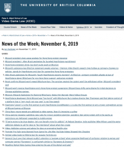 News of the Week; November 6, 2019
