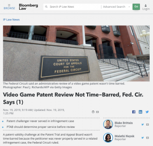Video Game Patent Review Not Time-Barred, Fed. Cir. Says