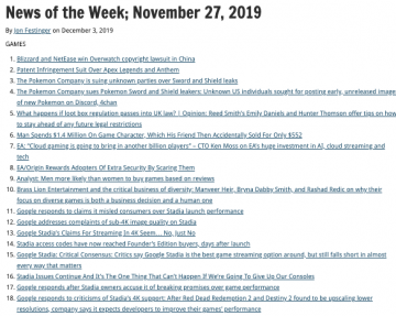 News of the Week; November 27, 2019