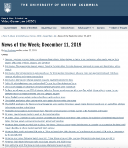 News of the Week; December 11, 2019