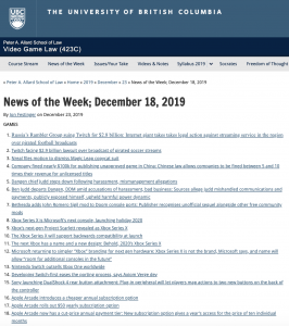 News of the Week; December 18, 2019