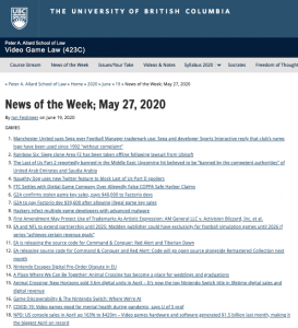 News of the Week; May 27, 2020