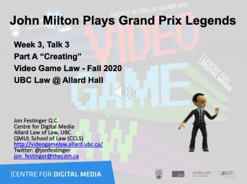 "Class 4 – Week of 9-21-20 Audio-Slides; ""John Milton Plays Grand Prix Legends"""