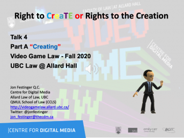 """Class 5 – Week of 9-28-20 Audio-Slides; """"Right to CreaTE or Rights to the Creation"""""""