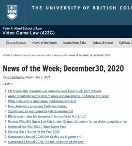 News of the Week; December 30, 2020