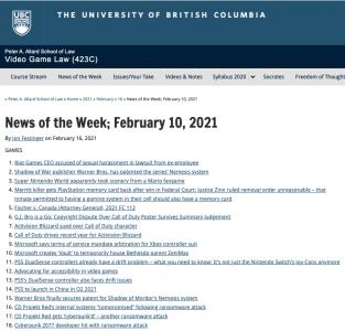 News of the Week; February 10, 2021