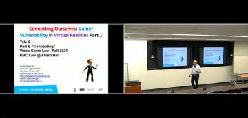 """Class 5 – 10.6.21; """"Connecting Ourselves: Gamer Vulnerabilities in Virtual Realities, Part 1"""""""